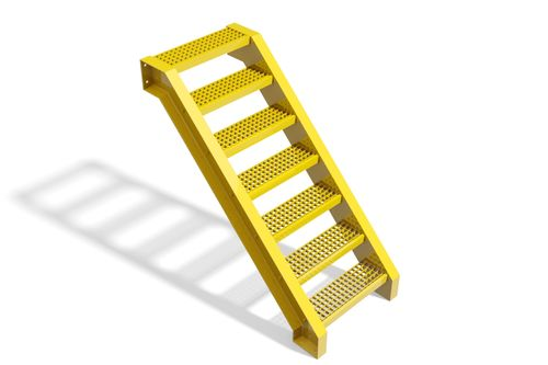Metal grate stairs Type A - 3D CAD models