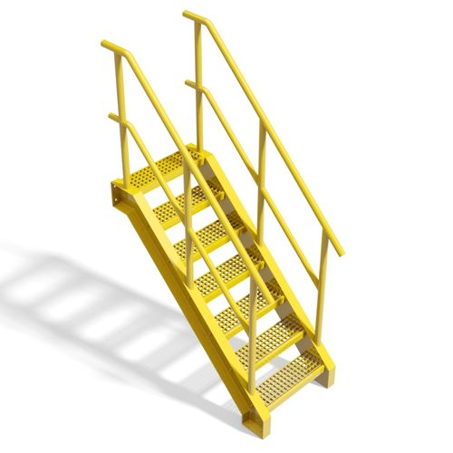 Metal grate stairs Type D - 3D CAD models