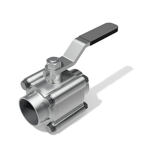 3 Piece manual ball valve - DIN buttweld ends - 3D CAD download file