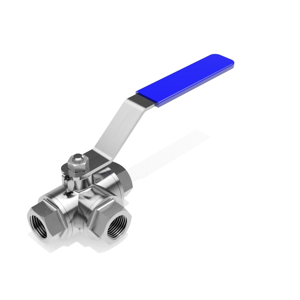 3-Way manual ball valve - BSP (DIN259) female - 3D CAD ...
