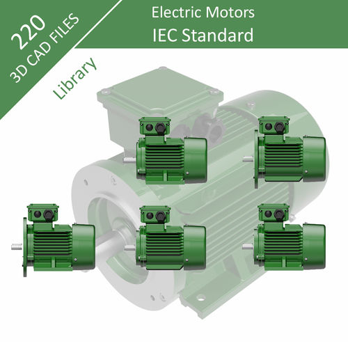 IEC Three Phase Electric Motors - Full Range 3D CAD Collection