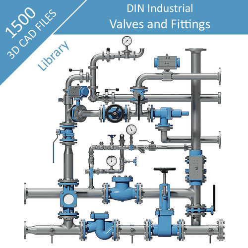 Industrial Pipe Fittings & Valves DIN Metal - Full Range 3D CAD Files Collection