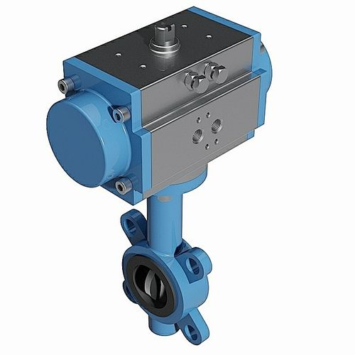Wafer type pneumatic butterfly valve - DIN standard - 3D CAD download file