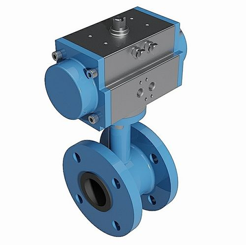 Double flanged pneumatic butterfly valve - DIN standard - 3D CAD download file