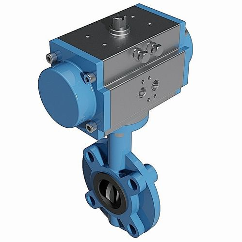 Lug type pneumatic butterfly valve - DIN standard - 3D CAD download file