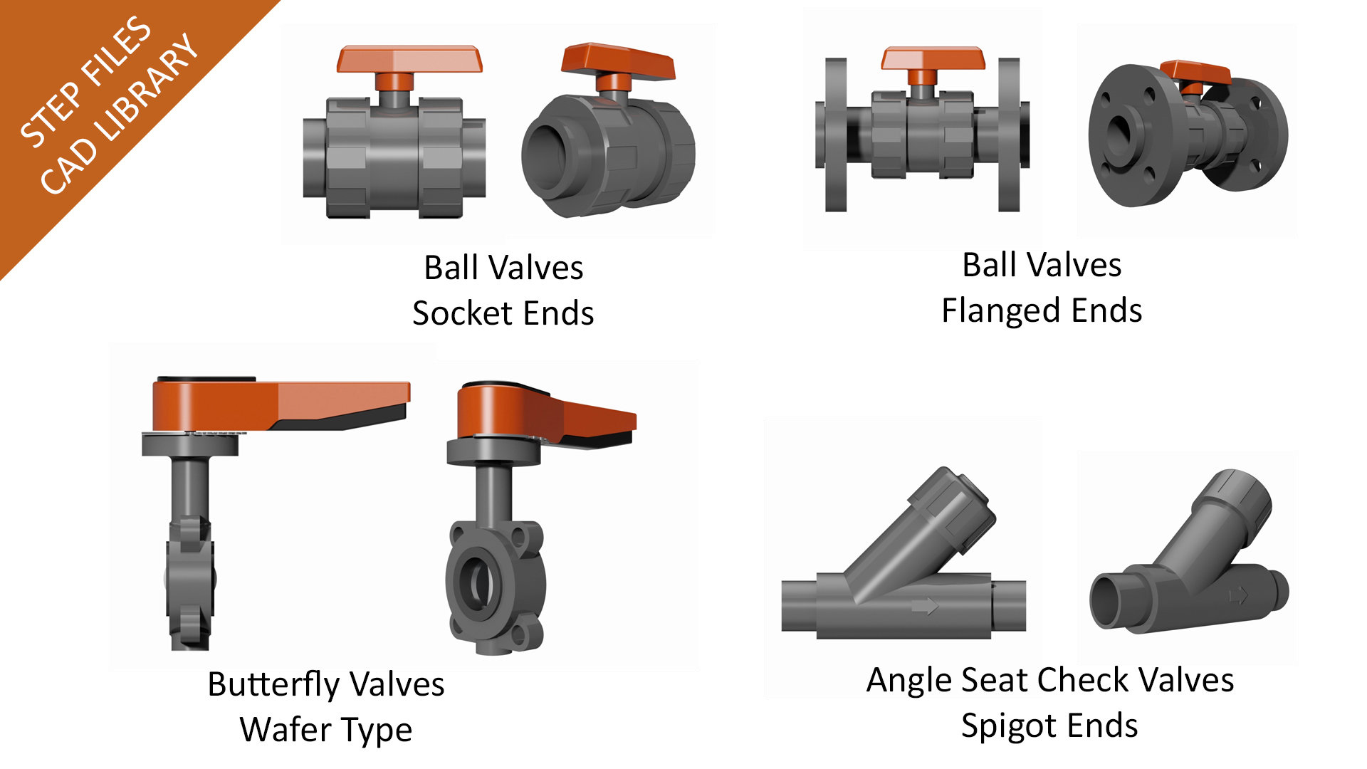 3d Cad Step Files Library Din Industrial Pvc U Valves