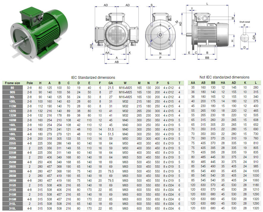 Electric-motor-B35-Dimensions-1a