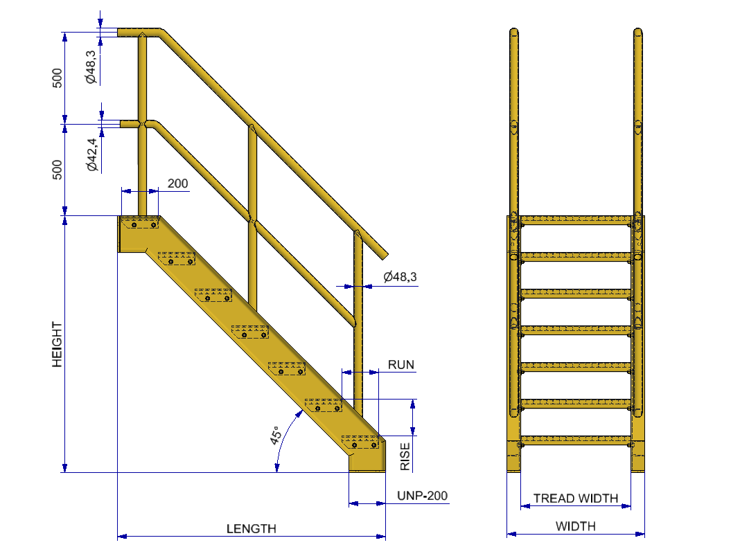 Grate_step_stairs_dimensional_table